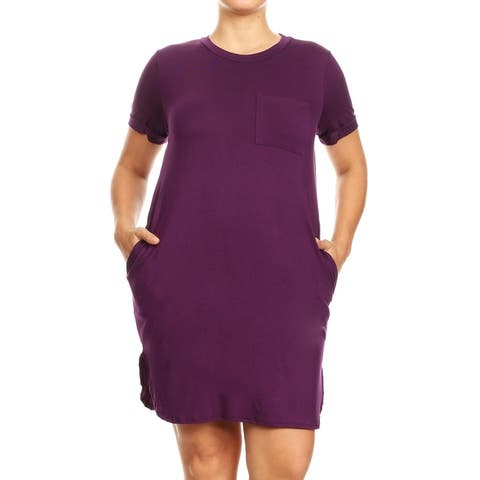 Women's Plus Size Casual Cuffed Short Sleeve Side Slit Pocket Midi Dress