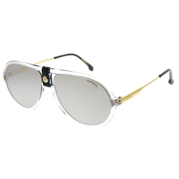 97ac40486 Carrera Pilot CA Carrera1020 900 T4 Unisex Crystal Frame Silver Mirror Lens  Sunglasses