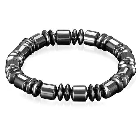 Polished Magnetic Hematite Beaded Stretch Bracelet
