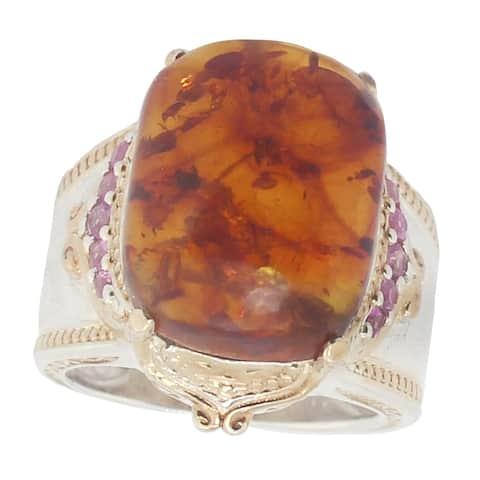 Gems en Vogue Palladium Silver Amber & Pink Sapphire Ring