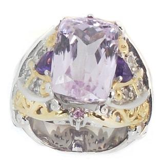 Michael Valitutti Palladium Silver Cushion Kunzite African Amethyst White Sapphire Ring