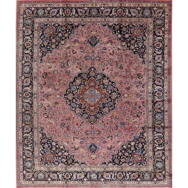 "Antique Mashad Medallion Traditional Hand Made Wool Persian Area Rug - 12'10"" x 9'9"""
