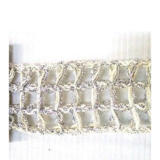 Ribbon White Silver Glitter Open Weave Mesh