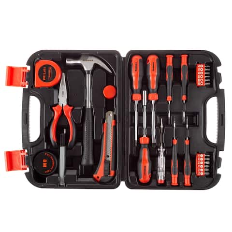Tool Kit- 36 Heat-Treated Pieces with Carrying Case - Essential Steel Hand Tool and Basic Repair Set by Stalwart - 36 Pc.