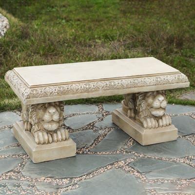Beige MgO Lion Outdoor Garden Bench