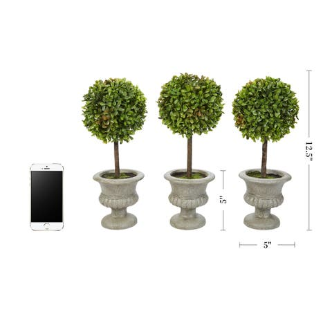 "Faux Boxwood- Set of 3 Matching Realistic 12.5"" Tall- Round Topiary Arrangements in Decorative Urns by Pure Garden"