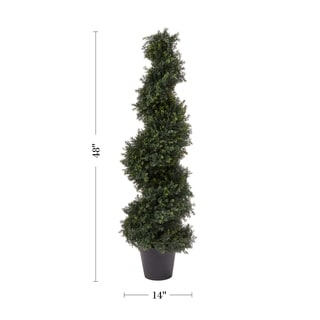 Link to Pre Garden 4-Foot Indoor/Outdoor Potted Artificial Cypress Spiral Topiary Tree Similar Items in Decorative Accessories