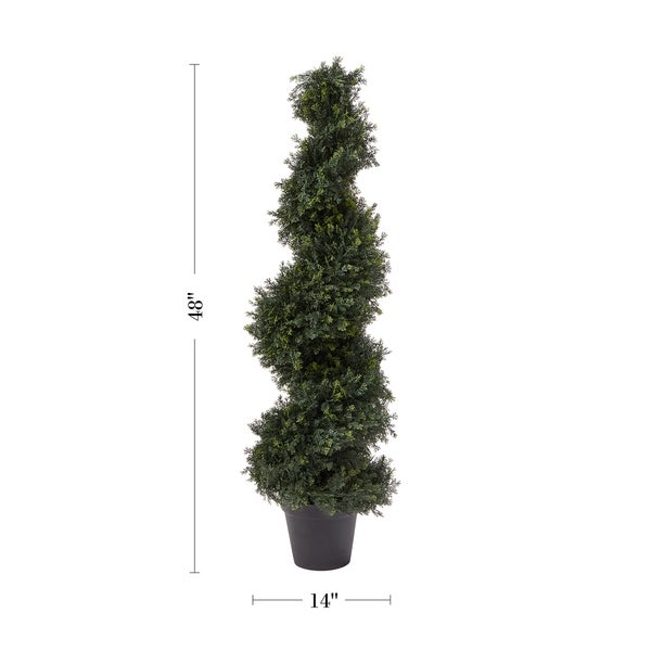 Pre Garden 4-Foot Indoor/Outdoor Potted Artificial Cypress Spiral Topiary Tree. Opens flyout.