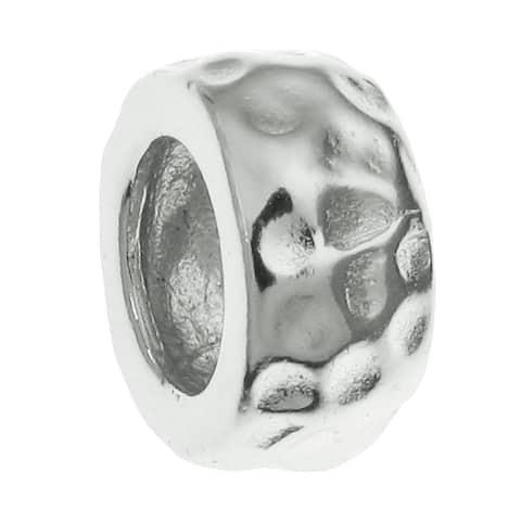 Queenberry 925 Sterling Silver Hammered Bead Charm for Pandora Troll Biagi Chamilia European Jewelry European Bead Charm