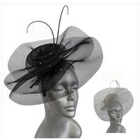 Women's crinalin Straw fascinator for Church or a Derby party.