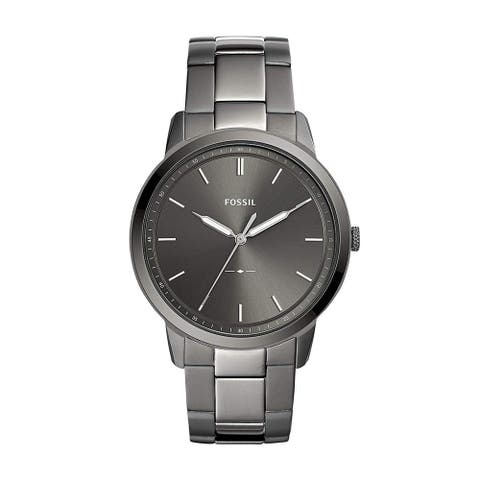 Fossil Mens FS5459 The Minimalist Grey Dial Smoke Stainless Steel Bracelet Watch