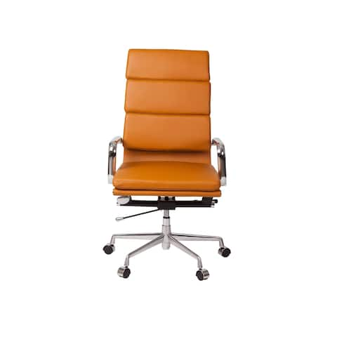 Executive Modern High Back Office Chair in Basketball Brown Leather