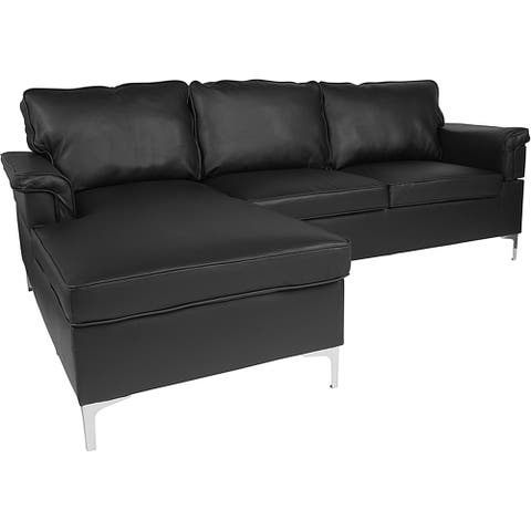 Roseland 2-Piece Black Leather Sectional Sofa with Left Facing Chaise