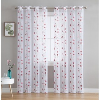Emma Floral Embroidered Semi Sheer Voile Window Curtain Drapery Grommet Top Panels For Bedroom Living Room Set Of 2 Overstock 27795971