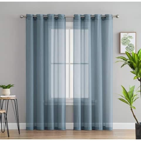 2 Piece Semi Sheer Voile Window Curtain Drapes Grommet Top Panels for Bedroom, Living Room & Kids Room - Set of 2 panels