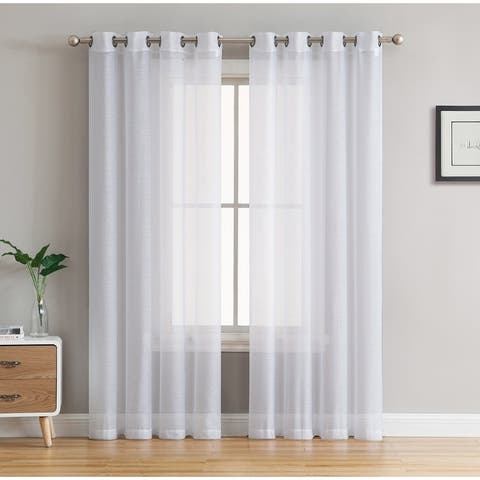2 Piece Semi Sheer Voile Window Curtain Drapes Grommet Top Panels for Bedroom, Living Room & Kids Room - Set of 2 panels