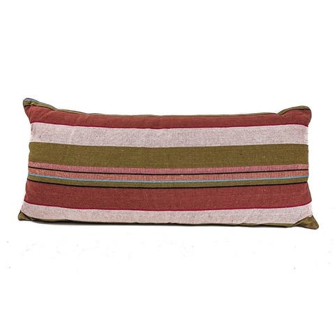 In-Sattva Home Cotton Canvas Handstitched Unique Striped Cushion Cover Deck Lounge Pillow