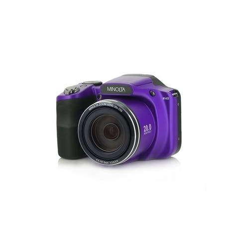 "Minolta 20 Mega Pixels High Wi-Fi Digital Camera with 35x Optical Zoom, 1080p HD Video, 3"" LCD, and 8GB SD (Purple)"