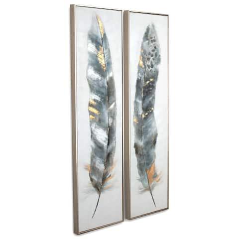 Calamus (Set/2) Framed Canvas - Grey/Blue/Brown