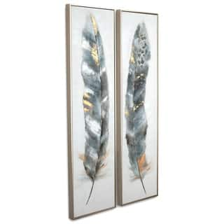 Calamus (Set/2) Framed Canvas - Grey/Blue/Brown