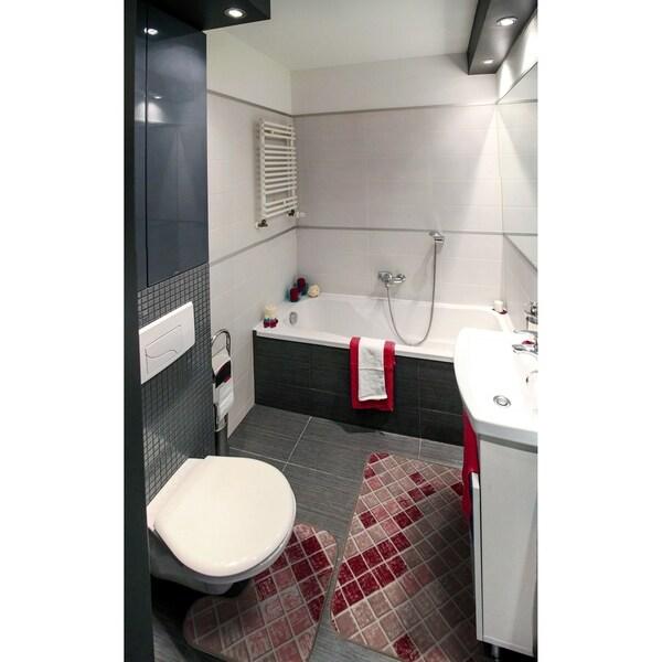"Bath 2-set 17x15"" + 18x30"" Newruz Print Mat Absorbent Soft Floor Area Rug Non-slip Carpet Red-Beige - 18"" x 30""/17"" x 15"""