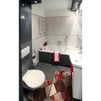 "Bath 2-set 17x15"" + 18x30"" Newruz Print Mat Absorbent Soft Floor Area Rug Non-slip Carpet Maroon-Beige - 18"" x 30""/17"" x 15"""