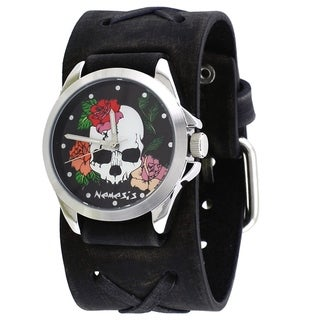 Link to Nemesis 'Skull and Roses' Black Watch with Faded Black Junior Leather Cuff Band KFXB933K Similar Items in Men's Watches