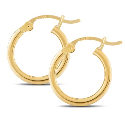 14KT Yellow Gold Classic Shiny Polished Round Hoop Earrings for Women, 2mm Thick - Available Across Various Sizes