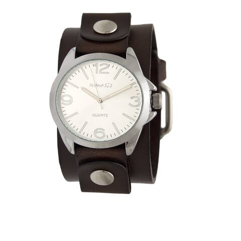 """Nemesis 'Tokyo"""" Series Dark Brown Leather Band cuff with Silver watch case DGB220S"""