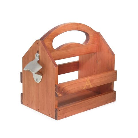 Single Initial Solid Wood Bottle Caddy w/Opener