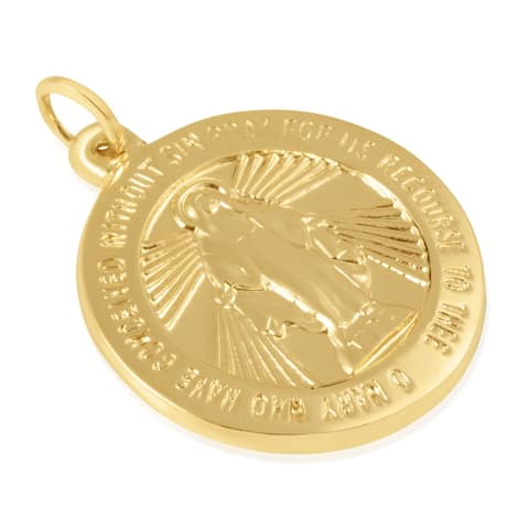 """14KT Yellow Gold Round Disc """"O Mary Conceived Without Sin Pray For Us Who Have Recourse To Thee"""" Pendant / Charm for Women"""