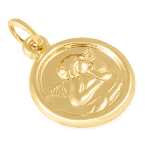 14KT Yellow Gold Round Disc Cherubim Religious Pendant / Charm for Women, 16mm x 16mm x 2mm - Immaculate and Trendy