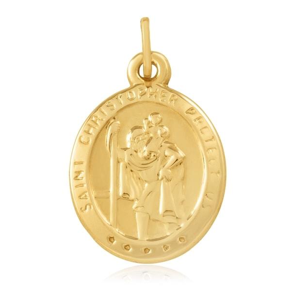 14k Yellow Gold Religious Pendant Charm
