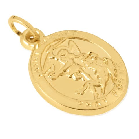 """14KT Yellow Gold Oval Disc """"Saint Michael Pray For Us"""" Religious Pendant / Charm for Women, 15mm x 18mm x 2mm"""