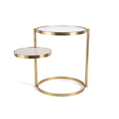 Hip Vintage Benjamin Polished Brass and White Marble Side Table