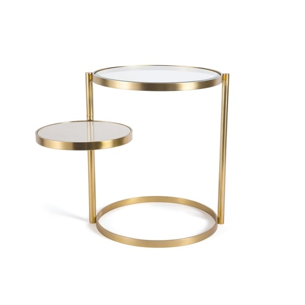 Hip Vintage Benjamin Polished Brass and White Marble Side Table. Opens flyout.