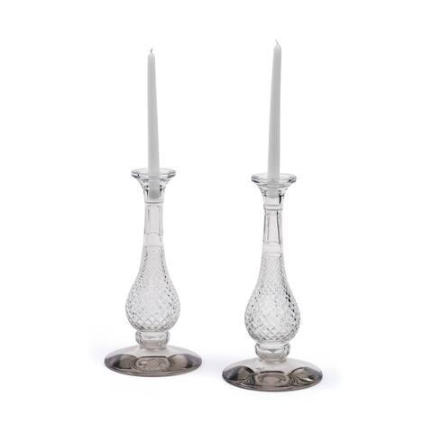Hip Vintage Frasier Glass Candlesticks (Set of 2)