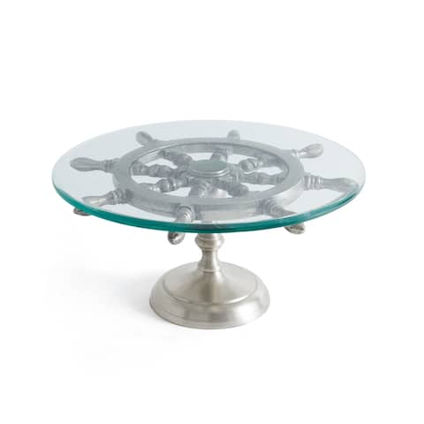 Hip Vintage Helm Brushed Nickel and Clear Cake Stand