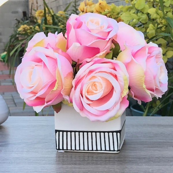 Enova Home Pink Artificial Open Rose Flower Arrangements With White Square Ceramic Vase