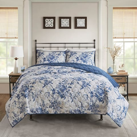 Madison Park Adoette Navy Cotton Printed Reversible Coverlet Set