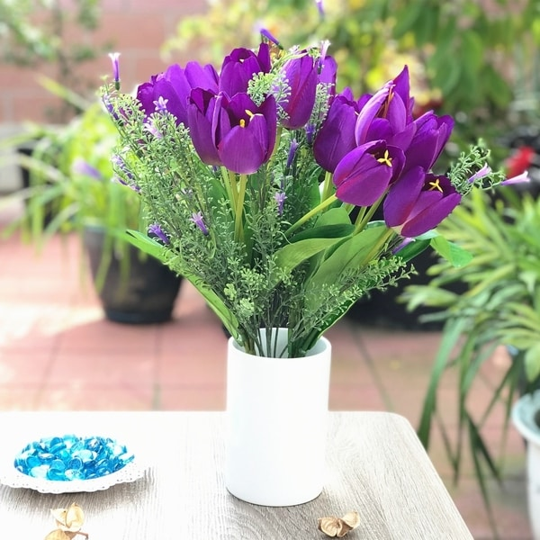Enova Home Purple Tulip and Mixed Faux Flower Arrangements With White Ceramic Vase