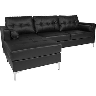 Bellmore 2-Piece Black Leather Sectional Sofa with Left Facing Chaise