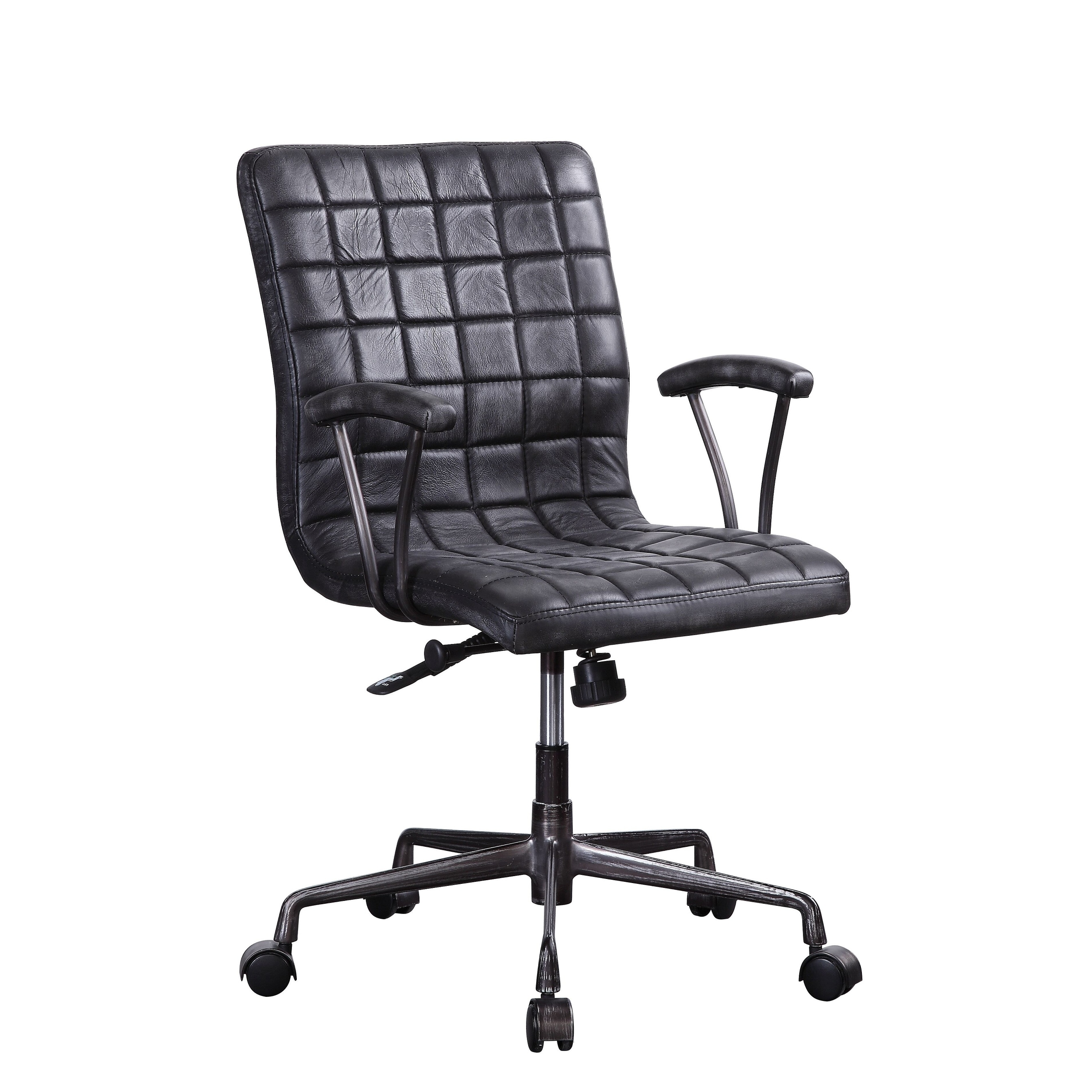 Barack Executive Office Chair In Vintage Black Top Grain Leather And Aluminum On Sale Overstock 27798488
