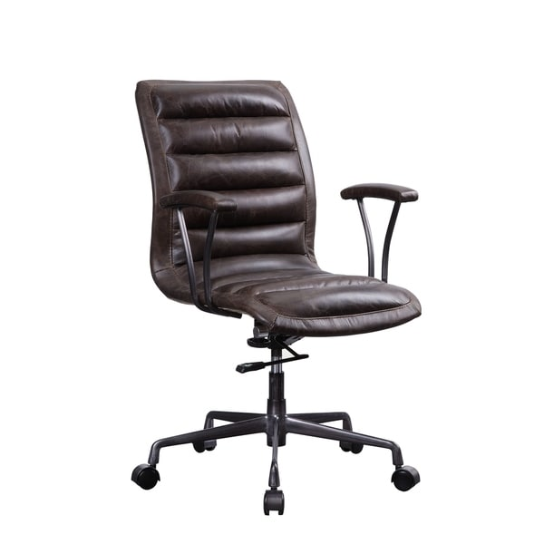 Zooey Executive Office Chair in Distress Chocolate Top Grain Leather