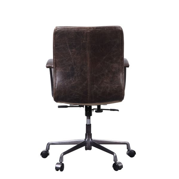 Zooey Executive Office Chair In Distress Chocolate Top Grain Leather Overstock 27798490