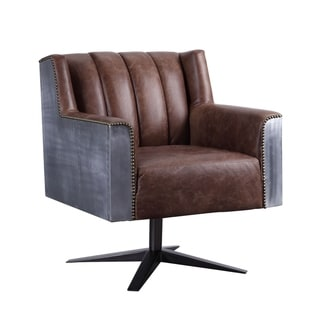 Brancaster Executive Office Chair in Retro Brown Top Grain Leather and Aluminum
