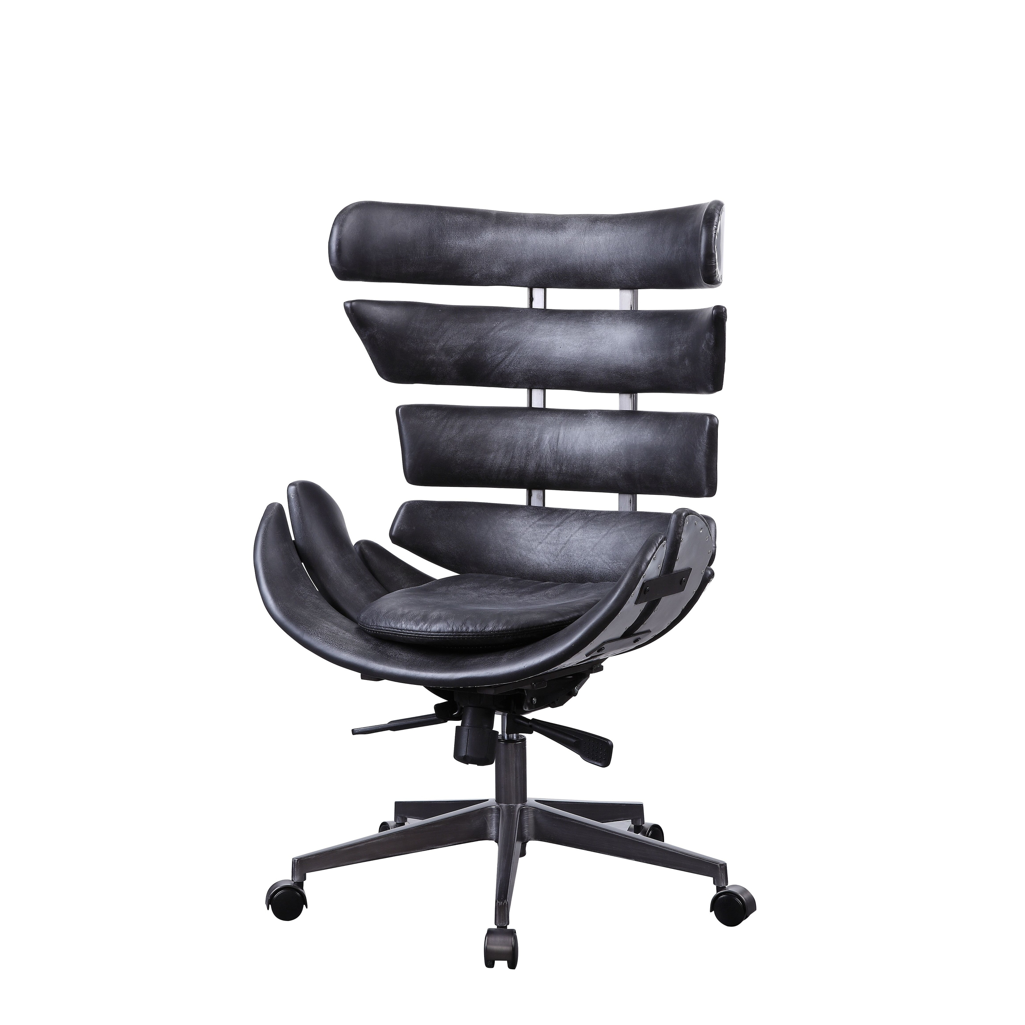 Megan Executive Office Chair In Vintage Black Top Grain Leather And Aluminum Overstock 27798492