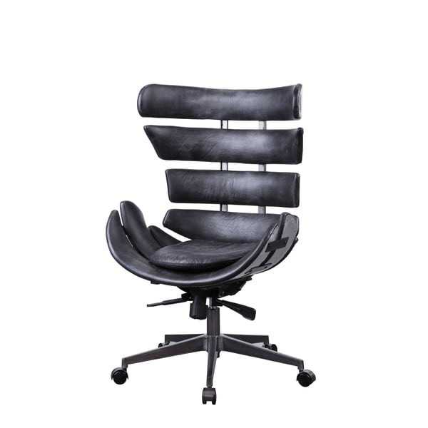 Megan Executive Office Chair in Vintage Black Top Grain Leather and Aluminum