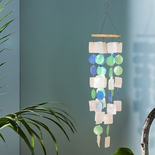 Havenside Home Saybrook Multicolor Wind Chime with Wooden Round Top and Ring Handle