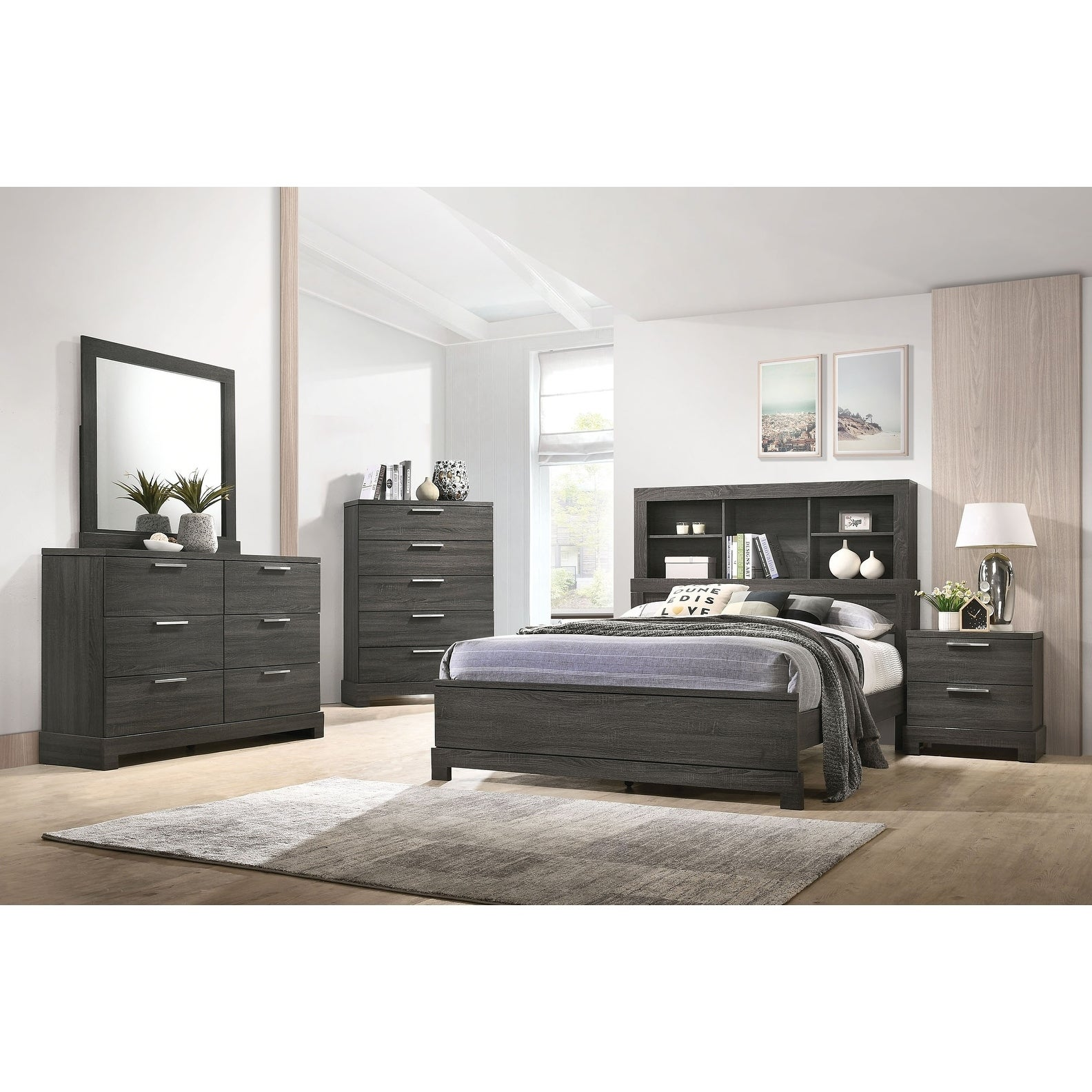 Acme Lantha Eastern King Bed With Storage In Gray Oak